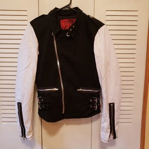 Tripp NYC black and white moto jacket size medium